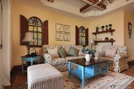 Pale Blue Living Room With Red Sofa  Country Style Living Rooms Country Style Living