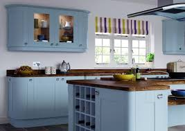 blue painted kitchen cabinets. Traditional Ocean Blue Painted Kitchen Cabinet And Island With Wooden Top Cabinets