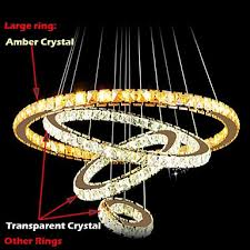 led pendant lamps ceiling light chandelier lighting round 4 rings large ring amber crystal and other