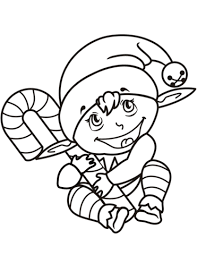 Small Picture Cute Christmas Elf with Candy Cane coloring page Free Printable