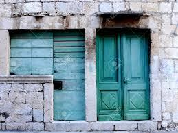 old doors island of vis croatia stock photo 55459312