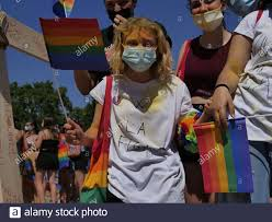 Milano pride 2021 in Arch of peace square, Milan, Lombardy. (Photo by Luca  Ponti/ Pacific Press Stock Photo - Alamy