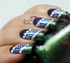 Tribal Nail Art over Three Darling Diva 'Queen' Inspired Shades ...