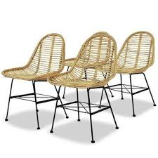 Shop vidaXL <b>Dining Chairs 4 pcs</b> Natural Rattan - Overstock ...