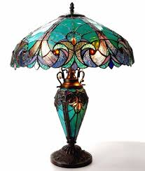 tiffany style stained glass table lamp desk art deco victorian antique bronze 1 of 4free