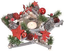 Gesteck Advent Stern Weihnachten Dekoriert Zapfen Grün Rot 1 Teelichtglas 25cm Matches21