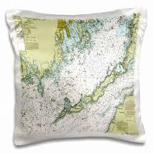 Nautical Chart Pillows 3drose Print Of Charleston Harbor Nautical Chart Pillow
