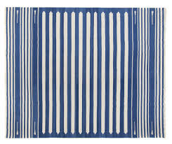 blue white striped dhurrie 8 3 x 9 8