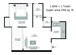 Wonderful 1 BHK 550 Sq. Ft. Apartment Floor Plan