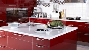 astonishing red kitchen wall with white kitchen cabinet
