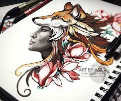 Foxy Girl Tattoo Sketch Tattoo Flash Neotrad On Behance