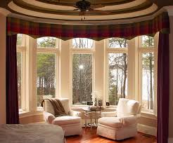 Beautiful Bay Windows With Traditional Wine Red Curtain For Traditional  Living Room Decorating Ideas With Elegant Armchairs