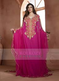 Pink Color Designer Hand Beaded Dubai Ladies Long Sleeve Party