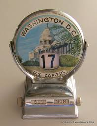 vintage metal tin perpetual flip desk calendar washington dc unusual souvenir