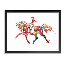 Horseback Riding Equestrian Poster Horse Riding Art ... - Amazon.com