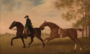 george stubbs two saddled horses one ridden by a groom the painting was