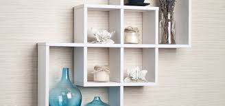 floating wooden square wall shelves