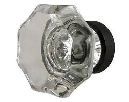 1 38 Inch Crystal Octagon Cabinet Knob Oil Rubbed Bronze Base
