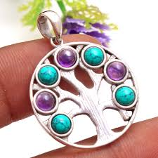 details about turquoise amethyst 7 stone tree of life pendant 925 sterling silver jewelry