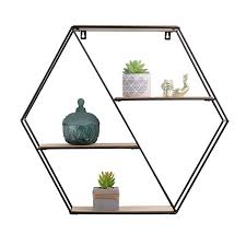 Wholesale <b>High Quality</b> Hexagon Metal And <b>Wooden Wall</b> Mount ...
