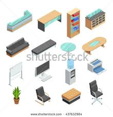 office furniture isometric icons collection with desk computer whiteboard and leather manager chair abstract isolated vector office e50 vector