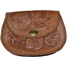 genuine hand tooled leather flower clutch purse to expand
