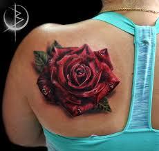 роза на плече татуировка в цветном реализме сделать тату у мастера