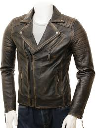 men s vintage leather biker jacket bucll closed
