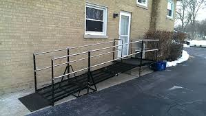install this angled platform and amramp chicago installed this al wheelchair ramp for the homeowner to provide temporary wheelchair access during
