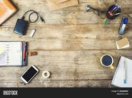 Desktop Mix On Wooden Office Table Image Photo Bigstock