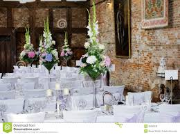 Wedding Reception Arrangements For Tables Wedding Reception Interior Stock Image Image Of Party 33340529