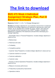 bus week individual assignment strategic plan part iii balance