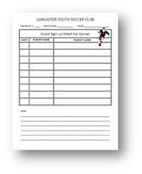 Team Snack Schedule Template Printable Snack Sign Up Sheets Sign Up Sheets Soccer