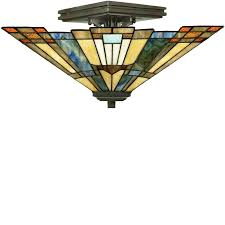 tiffany flush ceiling lights uk. elstead quoizel \u0027inglenook\u0027 tiffany semi-flush ceiling light, valiant bronze - qz flush lights uk u