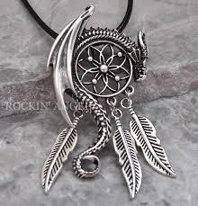 details about antique silver plt dragon dreamcatcher pendant necklace viking norse gift