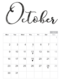 Printable October Calendar October 2018 Printable Calendar With Holidays Calendars