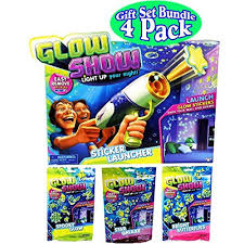 Glow Show Light Up Your Night Glow Show Sticker Launcher And 3 Refill Theme Packs Bundle Set 4 Pack