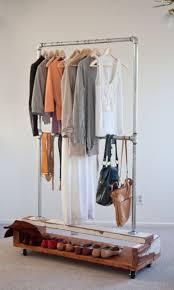 ... Wardrobe Racks, Rolling Clothes Rack Garment Rack Walmart Rustic Wooden  Shelf Clothes Rack With Double ...