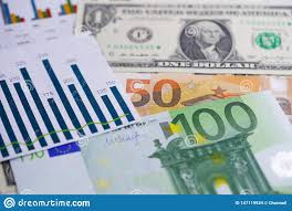 Us Dollar And Euro Banknotes Money On Chart Graph