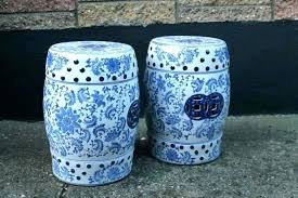 blue garden stool. Blue White Garden Stool Ceramic A Pair Of And Stools Square L