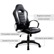 costway pu leather high back executive race car style bucket seat office desk chair white