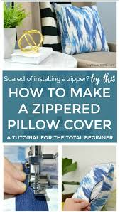 the easy way to install a zipper on a pillow cover sewing tutorial