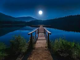 night painting magic moonlight night on the lake by elaine plesser