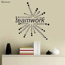 creative teamwork words design vinyl wall stickers office decor business radiation pattern self adhesive wallpaper mural teamwork office wallpaper e52 office