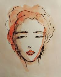 570x718 face painting original ink and acrylic drawing womans face