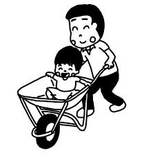 一輪車猫車で子どもを運ぶ大人のイラスト 白黒ヤギさん フリー素材