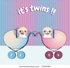 Boy And Girl Twins Birth Announcement Vector Clip Art Illustration