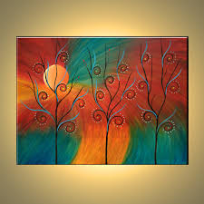 original oil painting contemporary abstract by colorblast on modern fine art of trees red yellow ideas