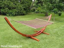 two person hammock with stand. Deluxe Wood Arc Two Person Adult Hammock Stand + Brown Rope Included With H