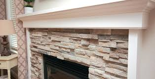 white stacked stone fireplace natural veneer example harper blvd kelley effect electric